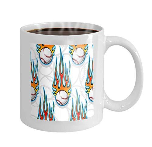 11 oz Coffee Mug Baseball Softball Ball Symbol hot Rod Flame Ideal Wallpaper Packaging Fabric Graphic Novelty Ceramic Gifts Tea Cup