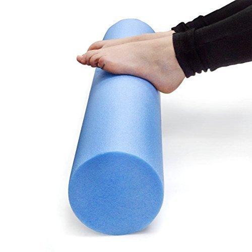 MX24 Pilates Rolle, Pilatesrolle Faszienrolle 15 x 90 cm flexibler Hartschaum blau inkl. Profi Übungsposter