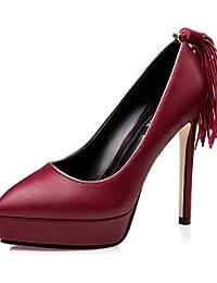 GGX/ Zapatos de mujer-Tacón Robusto-Tacones-Tacones-Exterior / Casual-Vellón-Negro / Gris , gray-us8 / eu39 / uk6 / cn39 , gray-us8 / eu39 / uk6 / cn39