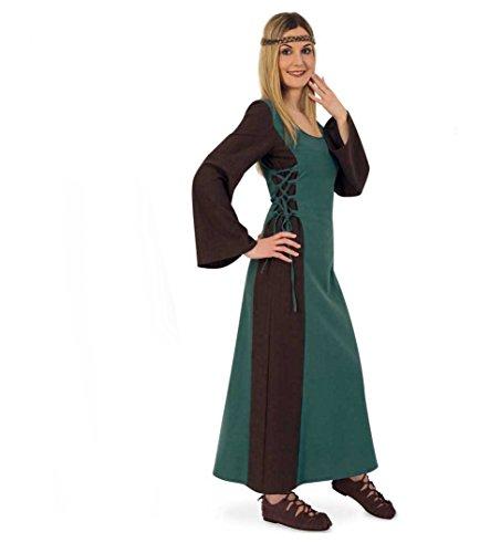 Damen Kleid Outfit (KarnevalsTeufel Mittelalter Maid Damen-Kostüm Mittelalter-Kleid Damen-Outfit grün lang (XL))