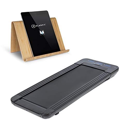 Klarfit Workspace Go Light Laufband - Tablethalterung, Tischlaufband & Office Cardio, 350 Watt, Ultraflach: nur 11 cm Höhe, nur 25 kg leicht, Slow Running bis 6 km/h, Lauffläche: 36 x 100 cm