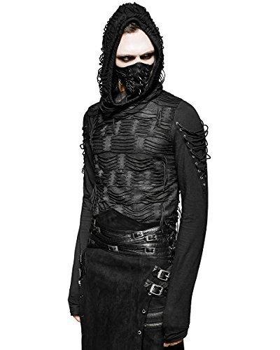 Punk Rave Verfall-herren Kapuzenpulli Top Schwarz Gotik Dieselpunk Punk Dystopian Mit Kapuze - Schwarz, Small / Medium (Rave Kapuze)