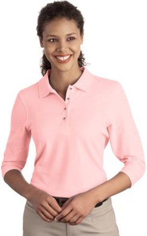 Port Authority Ladies Silk Touch™ 3/4-Sleeve Polo. L562 (Pique Knit Shirt Sleeve)