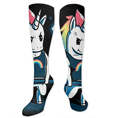 Rainbow Unicorn Weightlifting Knee High Compression Stockings Athletic Socks Personalized Gift Socks for Men Women Teens Girls ()