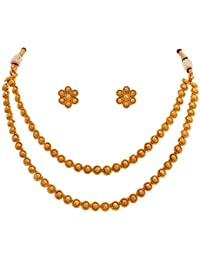 JFL - Traditional And Ethnic One Gram Gold Plated Designer Necklace Set With Earring For Girls & Women