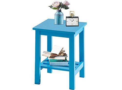 Loft24 Trendy Nachttisch blau Beistelltisch Telefontisch Ablagetisch Tisch klein Lampentisch Holz MDF Massivholz