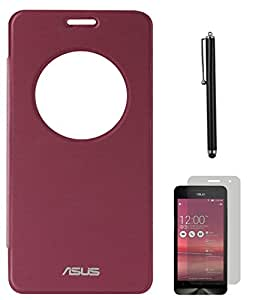 DMG Circle Window Flip Book Cover Case for Asus Zenfone 6 (Maroon) + Matte Screen + Stylus