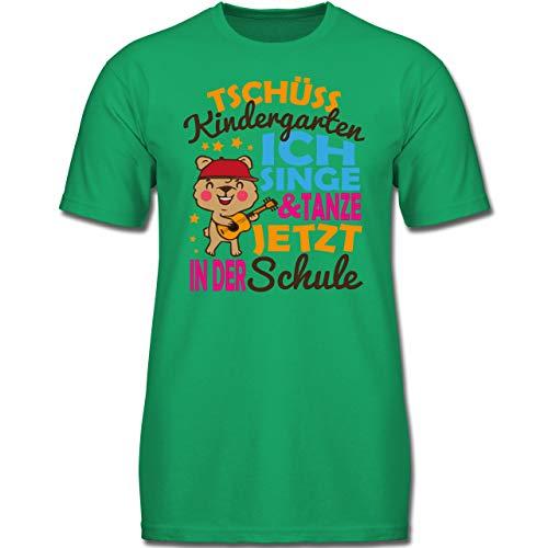 Einschulung und Schulanfang - Tschüss Kindergarten Ich Singe & tanze jetzt in der Schule Bär mit Gitarre - 152 (12-13 Jahre) - Grün - F130K - Jungen Kinder T-Shirt -