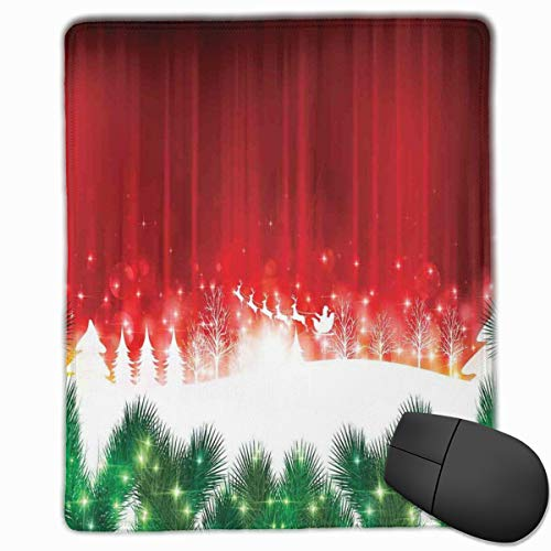 Mouse Mat Stitched Edges, Blurry Xmas Carol Background With Santa Fir Rudolph Annual Festival Image,Gaming Mouse Pad Non-Slip Rubber Base -