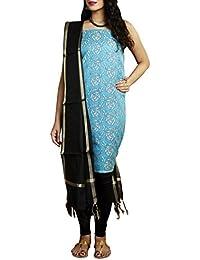 Gleamberry Clothing Women's Banarasi Handloom Cotton Silk Dress Material Set (Blue) # Girls