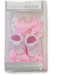 Baby Girls Gift Box Baby Socks & Headband set - PINK BOWS - Suitable From Newborn
