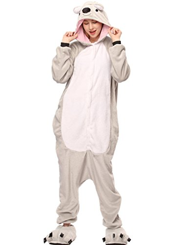 URVIP Neu Unisex Festliche Anzug Flanell Pyjamas Trickfilm Jumpsuit Tier Cartoon Fasching Halloween Kostüm Sleepsuit Party Cosplay Pyjama Schlafanzug Grau Koala Large