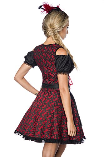Atixo Premium Bluse & Dirndl aus edlem Jacquard - rot/schwarz, Größe Atixo:L