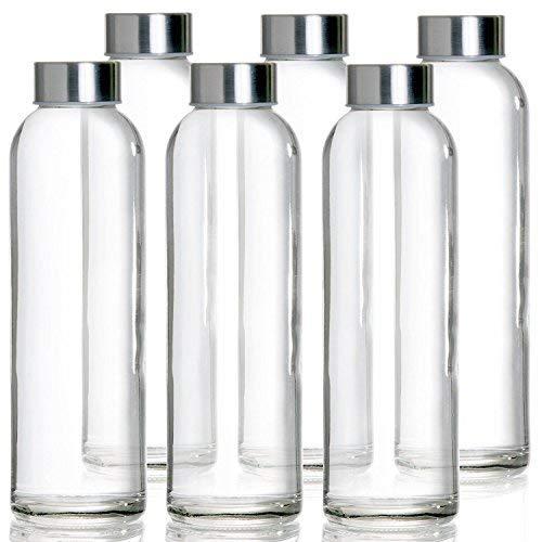 Botella de Cristal 6 pz de 500ml | Botellas de Viaje de Vidrio Para Agua Zumos y Batidos | Con Tapa Hermética de Acero Inoxidable y Con Bucle de Transporte | Para Deportes Outdoor Fitness Oficina