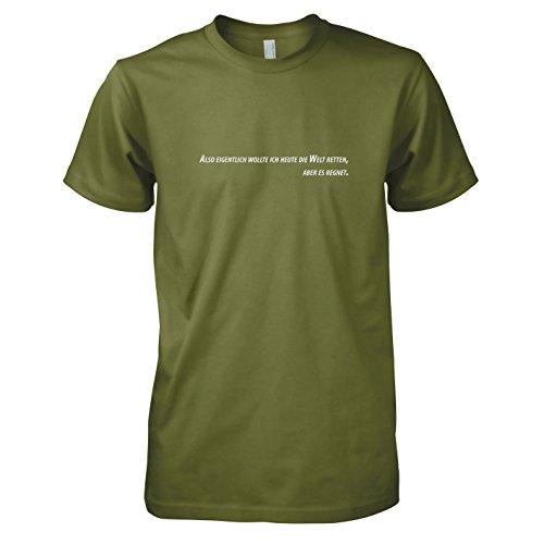 TEXLAB - Es regnet - Herren T-Shirt Oliv