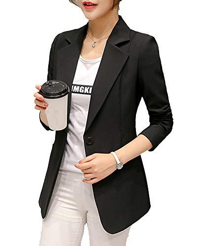 Donne Manica Lunga Slim Fit attività Commerciale Ufficio Formale Blazers Giacche Nero S