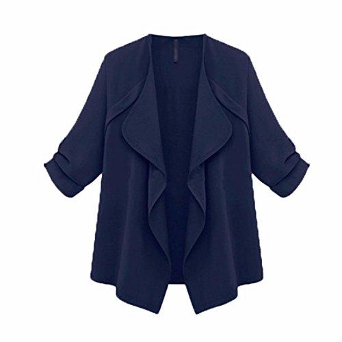 FORH Damen Casual Lange Ärmel Cardigan Elegant Solide color Strickjacke Mantel Loose Oversize Herbst Winter Jacken Trenchcoat Mode Wasserfallkragen Unregelmäßige Cardigan (Marine, M)