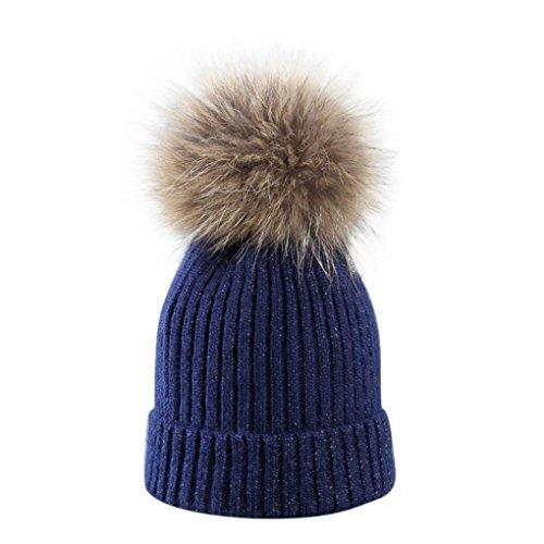 Damen Mütze Mit Bommel,TUDUZ Frauen Mädchen Winter Dick Strickmütze Pelzmütze Echt Große Waschbär Pelz Pom Beanie Hüte (H) (Pelz-pom-pom Echte)