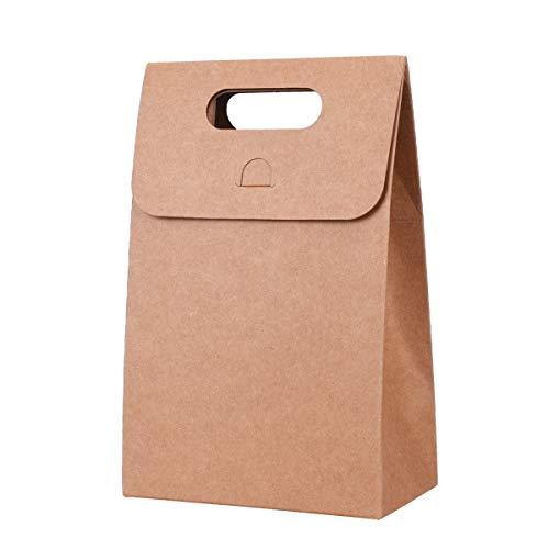 TankerStreet 15 Stück Geschenktüten mit Griff Kraftpapier Tüten Retro Geschenktaschen Papiertüte Schokolade Süßigkeiten Organizer Geschenkbox Partytasche für Weihnachten Geburtstag Braun 12x7x18cm