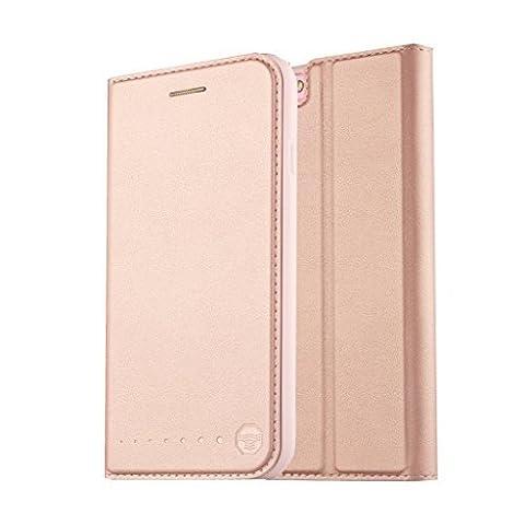 Nouske étui Folio en cuir pour Apple iPhone 6 Plus / 6s Plus, Cover Coque TPU Porte cartes avec Support Protection intégrale, Rose d'or