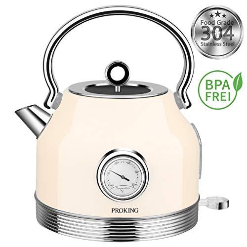 PROKING Bouilloire Électrique Acier Inoxydable en 1.7L Vintage Rétro avec Thermomètre Ebullition Rapide 2200W Protection Contre L'ébullition à Sec (Blanc)