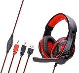 Gaming-Kopfhörer Für Ps4 Xbox One, Angenehme Geräuschunterdrückung 3,5 Mm, Bass-Stereo, Mit Mikrofon-LED-Licht - Rot Kopfhörer