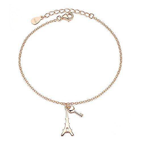 Cara Z London - Pulsera de plata de ley en color oro rosa, con colgante de torre Eiffel y llave.