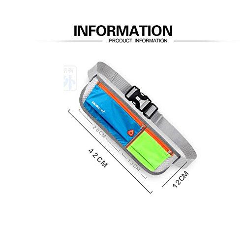 Licht und Breathable persönliche Unsichtbarkeit Taille Tasche, Männer und Frauen Outdoor Sport, Laufen, Radfahren, Wandern, Reisen, Fitness Taille Tasche / Handy Sicherheit Taille Tasche, geeignet für blue green