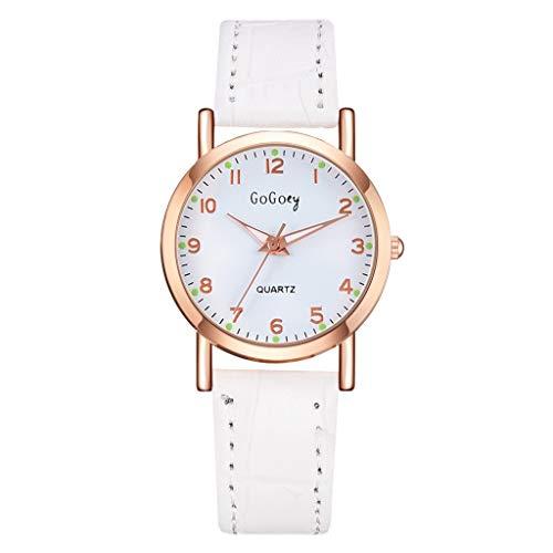 LILIGOD Frauen Quarz Damenuhr Modische Einfache Digitale Uhren Leder Uhrenband Armbanduhr Einfach Einfarbig Wild Armband Tägliche Uhr Quarzuhr