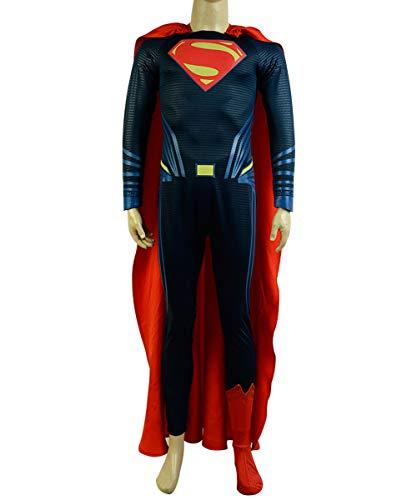 MingoTor Superheld Jumpsuit mit Umhang Superman Cosplay Kostüm Deluxe Version Herren S