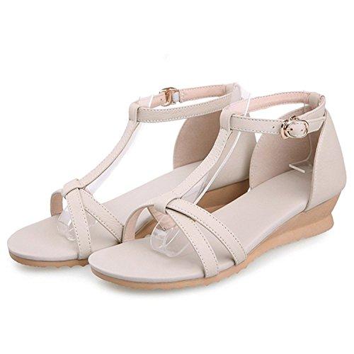 Dayiss Damen Sandalen mit Absatz Straß T-Strap Sommer Sandaletten Auslaufrabatt Beige-Flach