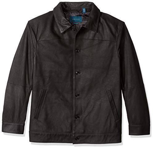 Perry Ellis Herren Big and Tall Leather Button Front Jacket Baumwolle, leicht, Jacke, Black/Dfr, X-Large Hoch (Perry Ellis Männer Mantel)
