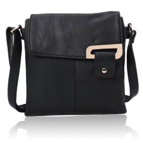 Avashion, borsa a tracolla in finta pelle con cinghia regolabile e tasche multiple (nero)