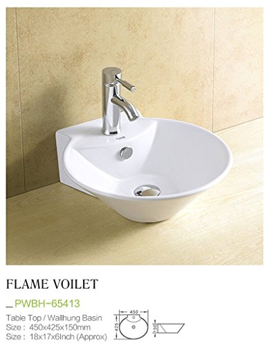 Plano Ceramic Wash Basin Tabletop / Wall Mount Flame Violet