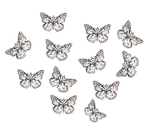 40x Schmetterling Silber mit Aufhängeöse 5x4cm aus Metall