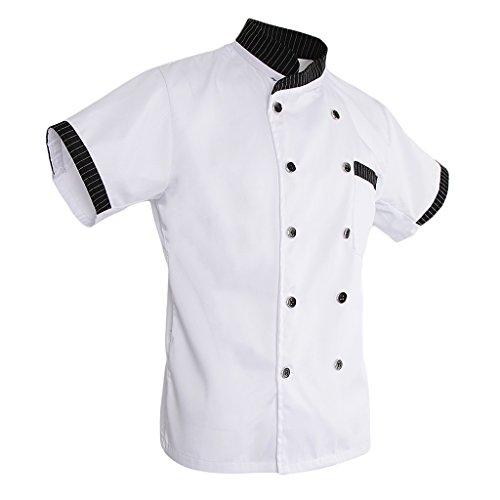MagiDeal Damen Herren Kochjacke Bäckerjacke mit gestreiftem Stehkragen Kochkleidung Koch Küche Chef Gastronomie Berufsbekleidung - Weiß, L