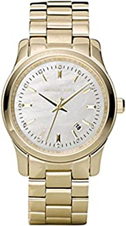 ساعة يد للنساء راناوي من مايكل كورس بقرص ابيض وحزام من الستانليس ستيل - mK5303