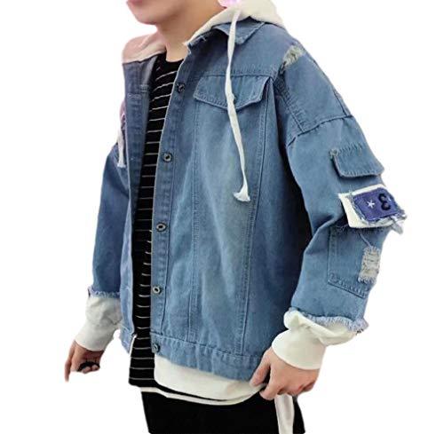 CuteRose Men's Broken Pocket Hooded Washed Fake Two Pieces Trucker Jacket Light Blue S -