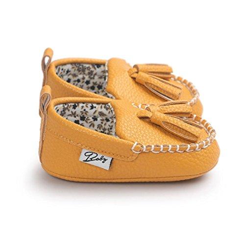 Saingace Krabbelschuhe Baby-Mädchen-Jungen-weiche alleinige lederne Schuhe weiche untere Schuhe flache Schuhe Gelb