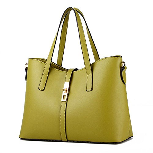 koson-man-womens-pu-leather-sling-vintage-zipper-decorate-tote-bags-top-handle-handbagkhaki
