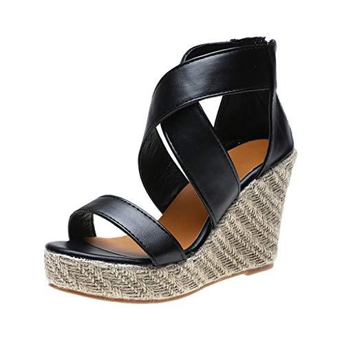 Damen Sandalen Sommer Ttlove Open Toe Wedges Thick Bottom SchnüR-Strandschuhe FüR Frauen Roman Sandals Freizeitschuhe (Schwarz,36) (Converse-plattform)