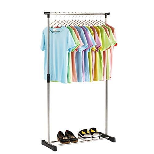 ALEILA Einstellbare einzelne Mobile Kleidungsstück Kleiderstange, mit Rädern aus Edelstahl Garderobenständer,3#