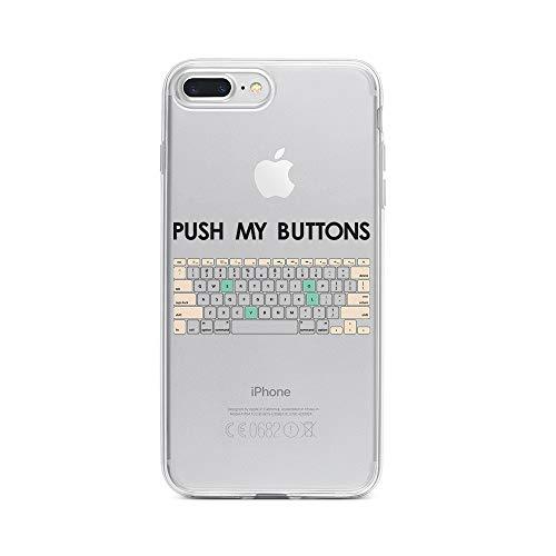 licaso Apple iPhone 8 Plus Handyhülle Smartphone Apple Case aus TPU mit Push My Buttons Print Motiv Slim Design Transparent Cover Schutz Hülle Protector Soft Aufdruck Lustig Funny Druck - Iphone-tastatur-case