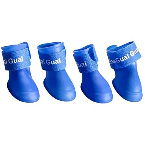 Hundeschuhe Silikon wasserdichte Anti-Rutsch-Netter Haustier-Hundewelpen-Regen lädt Schuhe 4pcs auf