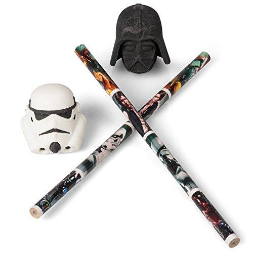 Star Wars 3D Bleistift Radiergummi Topper Set - Schule Schreibwaren Darth Stormtrooper
