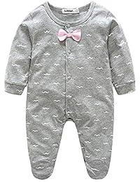 Hawkimin Kleinkind Lovely Kid Baby Tie Langarm-Overall Kleidung Baumwolle Spielanzug Strampler