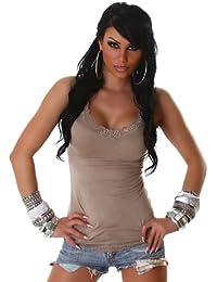 Voyells - Camiseta sin mangas para mujer, cuello en V, diseño liso