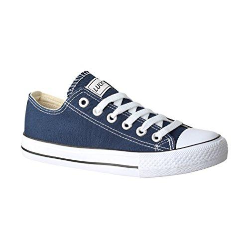 Elara Femmes Baskets Low Loisirs Chaussures de Sport Basic Lacets Bleu
