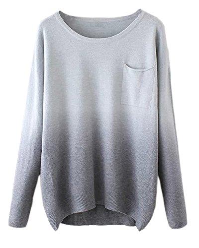 Urban GoCo Femmes T-shirt Chemises Longues Manches Basique Simple Tee Souple Pull Gris # 1