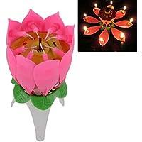 Lorjoy Lotus Velas Sola Capa giratoria Lotus no Flor de la Música de la Vela para la Torta de la Fiesta de Cumpleaños